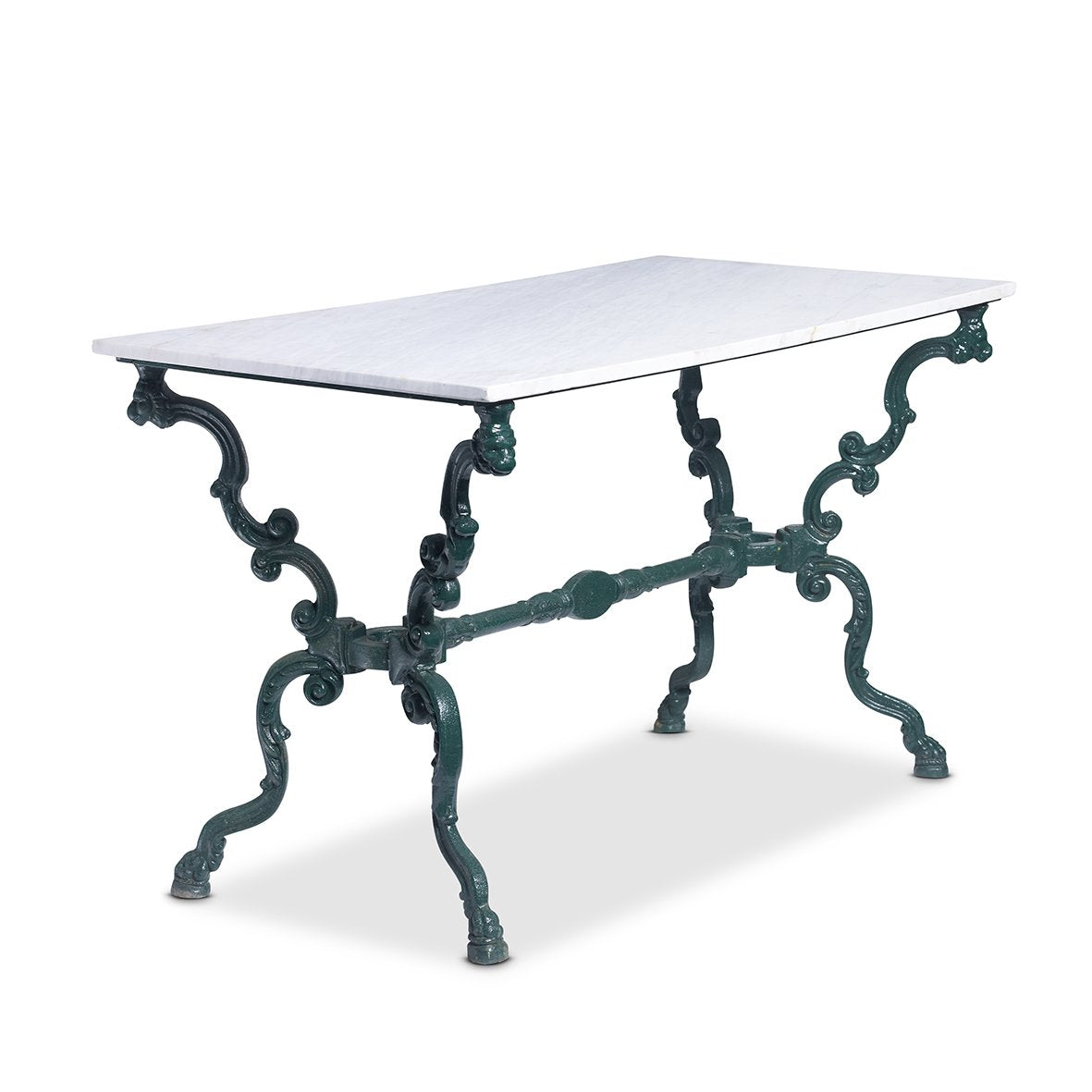 A stylish dark green painted cast iron rectangular garden table, French 19th Century
