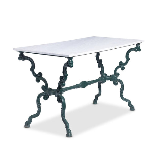 A stylish dark green painted cast iron rectangular garden table