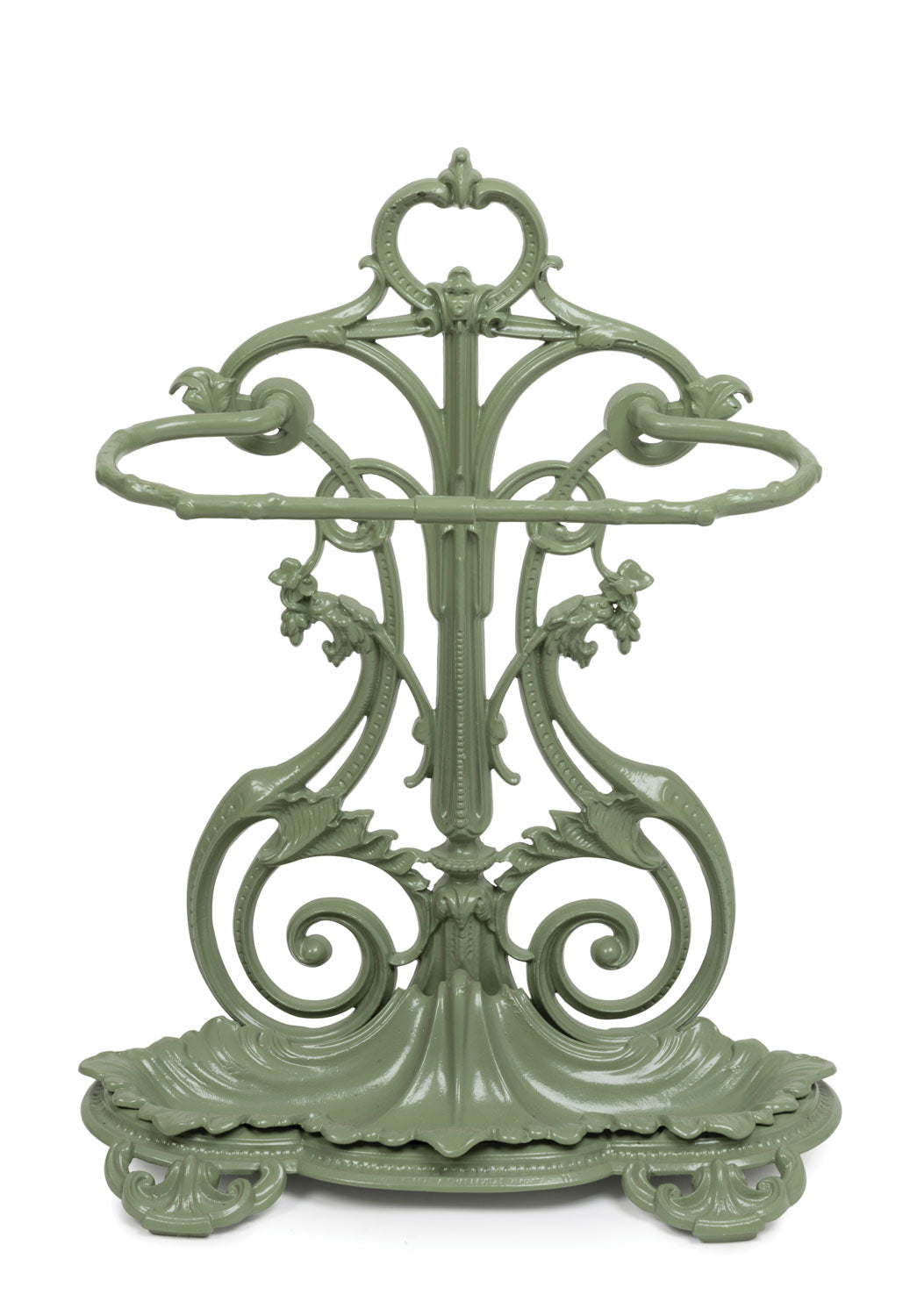 A pale green painted cast iron scrolling foliate form umbrella stand, French 19th Century