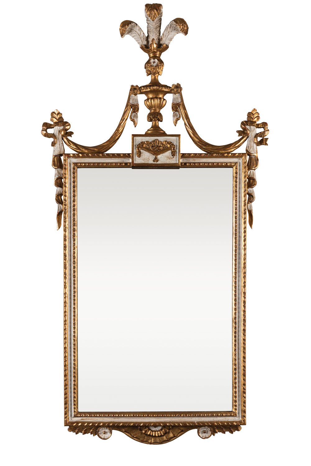 A very decorative giltwood and cream painted wall mirror with plume detailing, Italian first half of the 19th Century