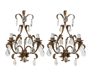 A pair of gilt metal and facet cut glass wall lustres, French Circa 1950