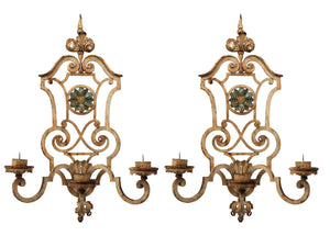 A pair of very decorative heavy gauge painted cast iron, 3 branch wall torcheres French Circa 1940