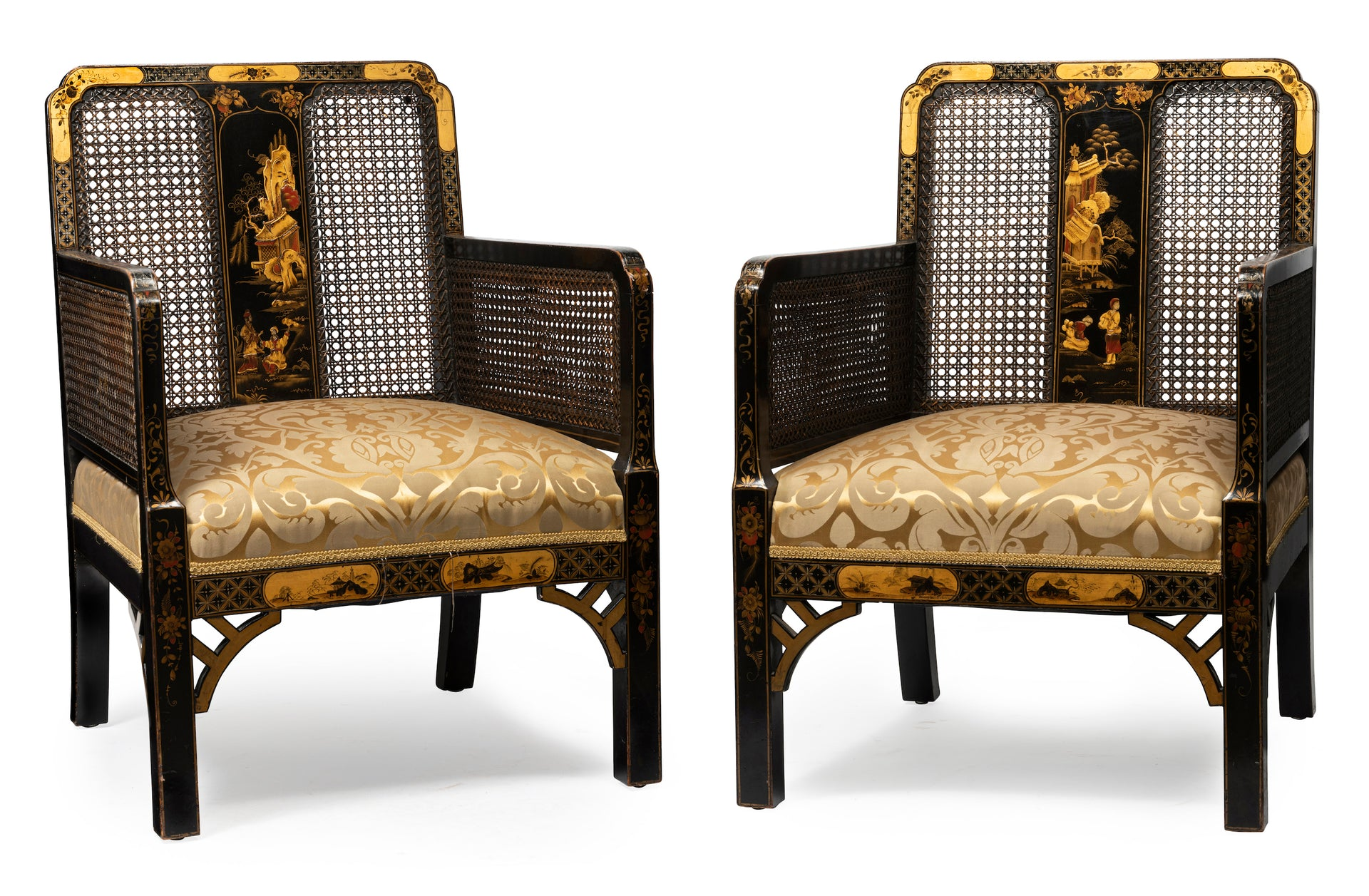 SOLD An exceptional black Chinoiserie lacquer and caned bergere three piece suite English Circa 1920