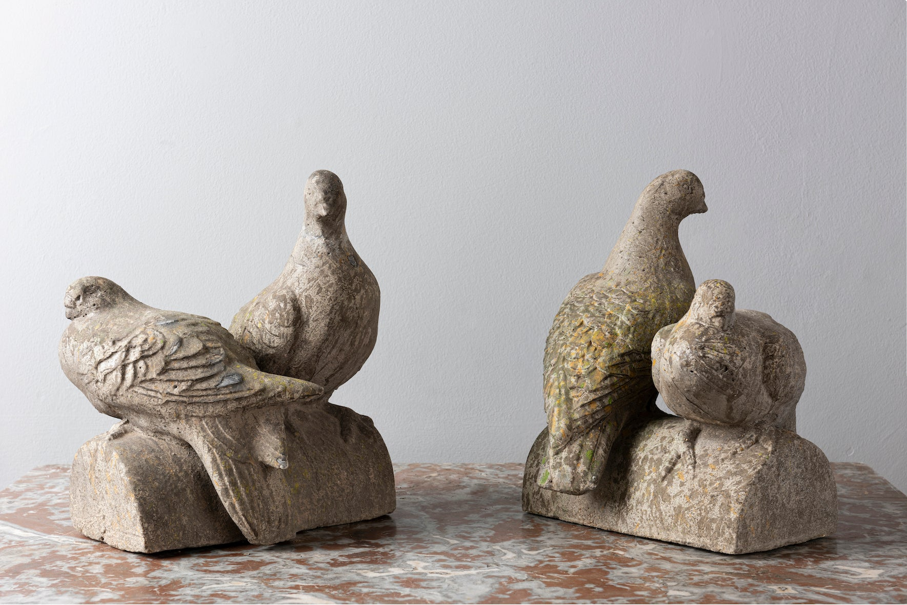 SOLD A garden sculpture in the form of two doves roosting
