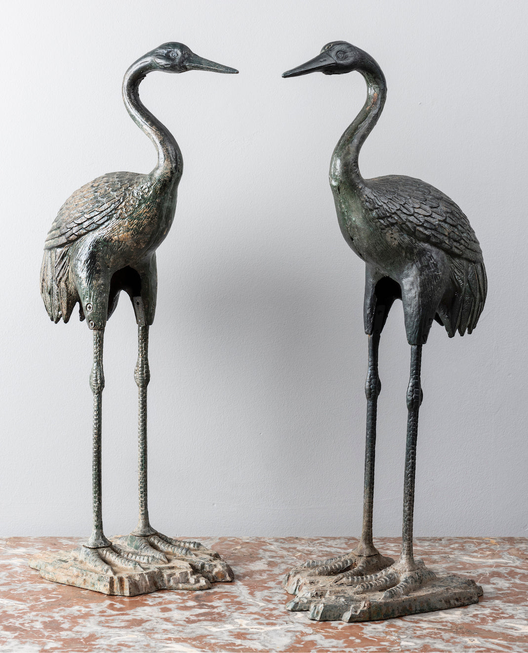 SOLD A pair of decorative bronzed green cast iron cranes, Japanese, Circa 1920