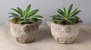A pair of French Celtic inspired composite stone circular jardinieres,