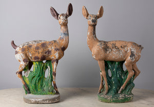 A charming pair of painted composite stone deer, French Circa 1950
