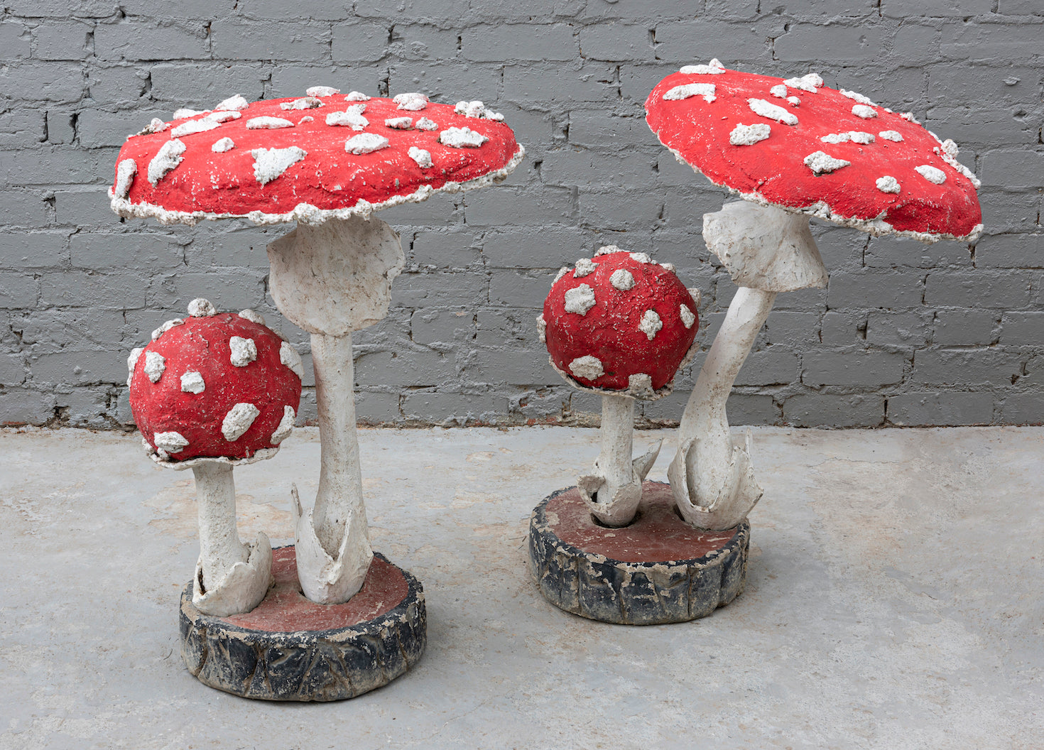 A pair of fabulous polychrome painted giant cement toadstools , French Circa 1950