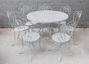 A pretty pale grey painted wrought iron garden or patio setting, French Circa 1950