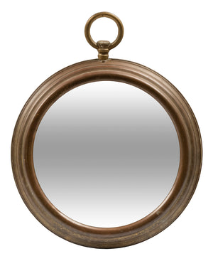 A French vintage brass wall mirror in the form of a fob watch
