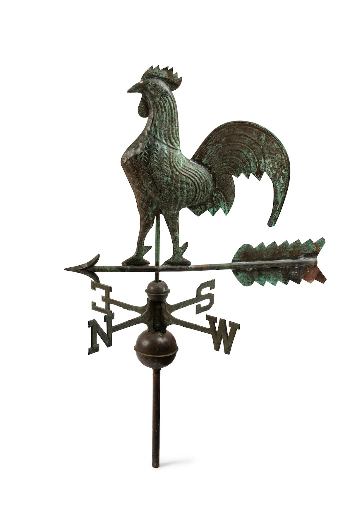 SOLD An oxidised copper French vintage cockeral weather vane