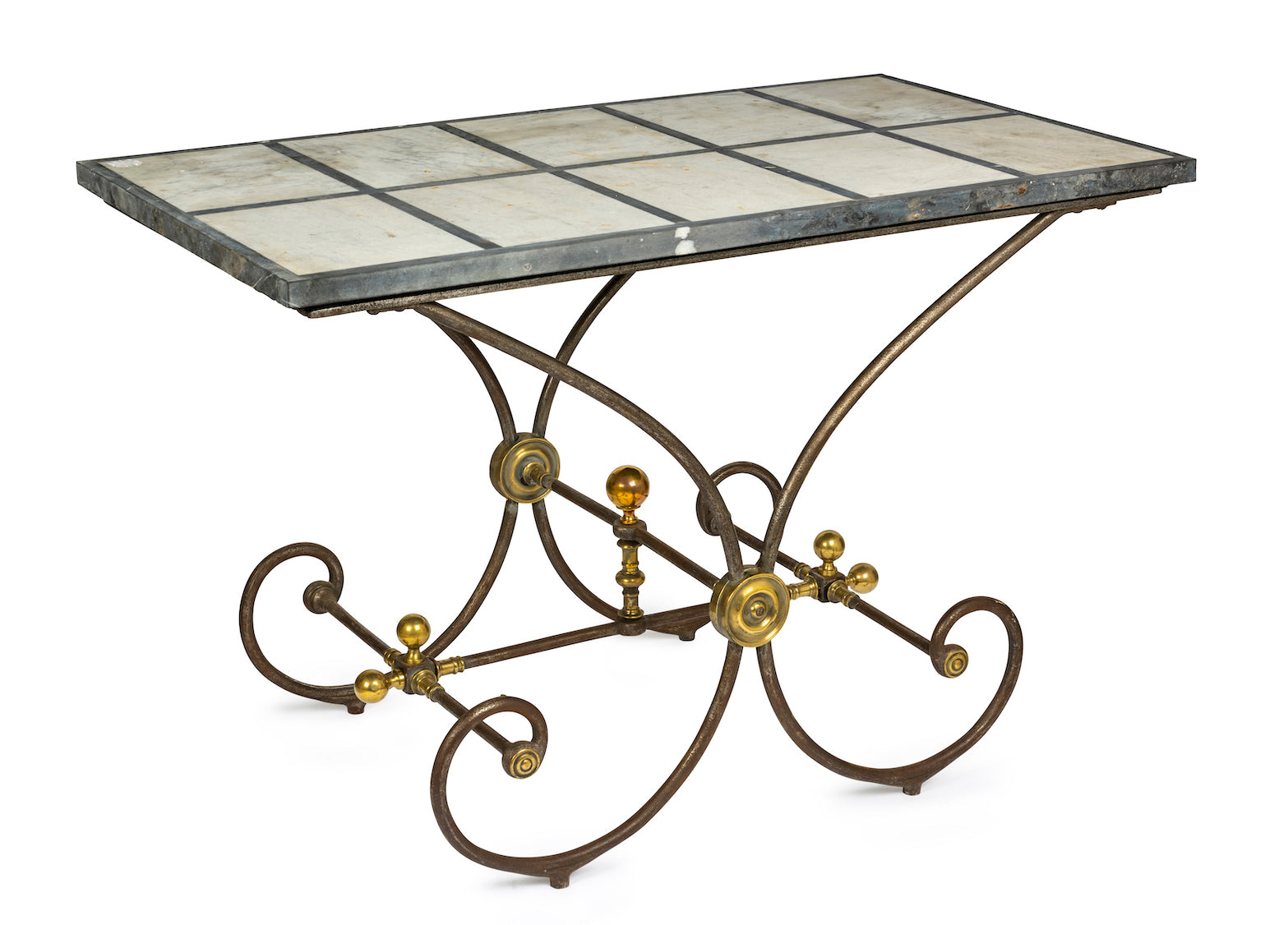 A French Provincial steel and brass patisserie table, 19th Century