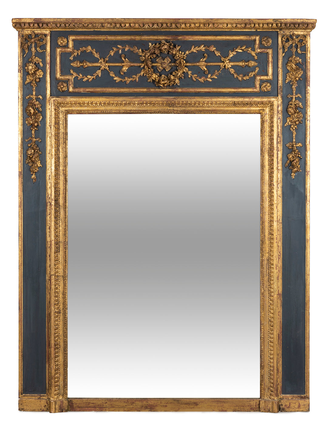A finely carved painted and gilded overmantel mirror, French 19th Century