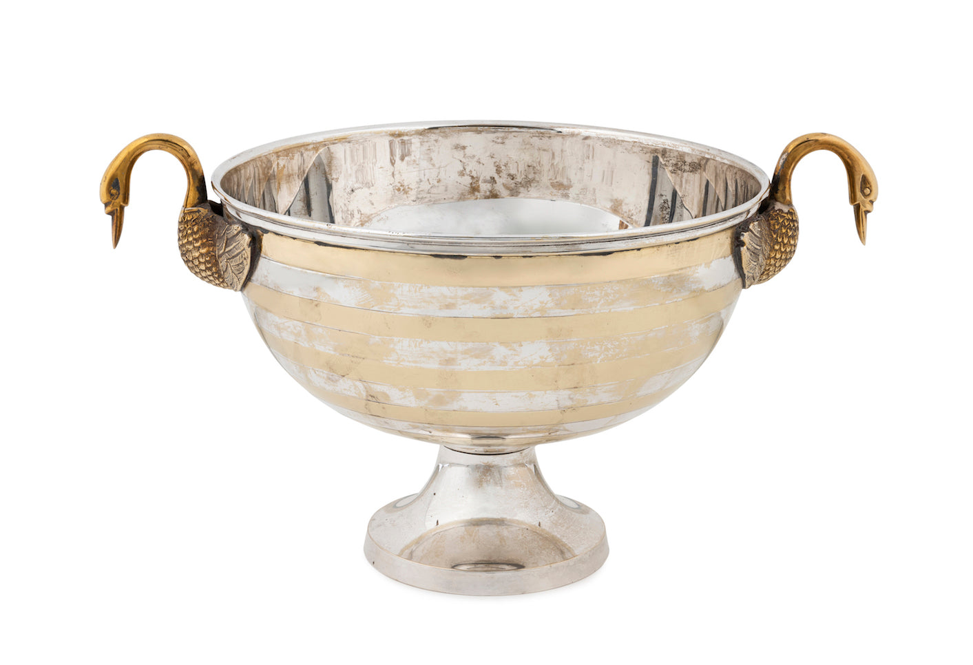 SOLD An unusual brass and silver plate striped wine cooler with twin swan form handles, Indian Circa 1950