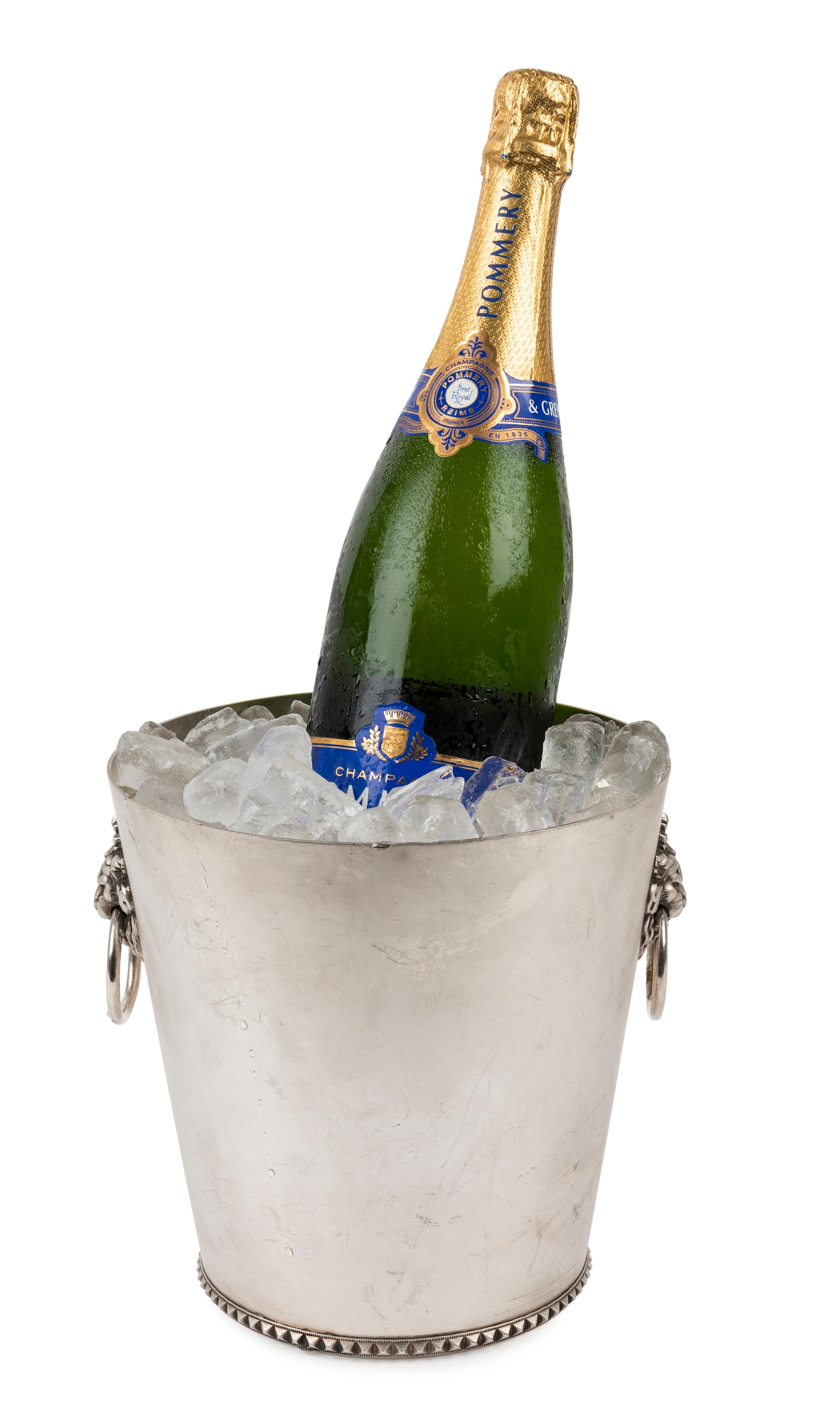 A French vintage silver plated twin handled wine cooler, Circa 1950