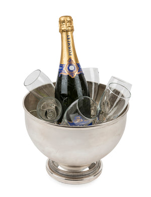 A silver plated circular pedestal wine cooler, French Circa 1940