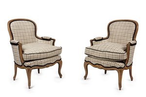 A stylish pair of Louis XVI style fauteuils, French 19th Century