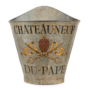 An original Chateau-Neuf du Pape painted metal grape pickers hod, French Circa 1930