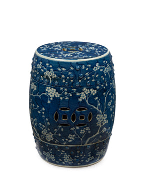A blue and white cherry blossom design porcelain stool/ side table, Chinese 20th Century