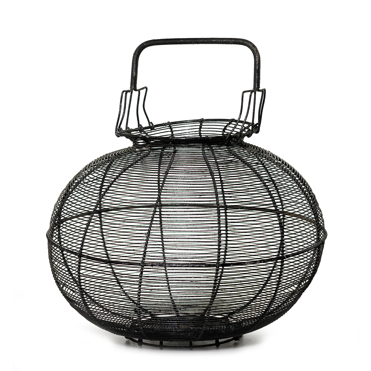 An impressive black painted metal provincial egg collecting basket, French Circa 1900