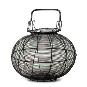 An oversized black painted metal provincial egg collecting basket, French Circa 1900