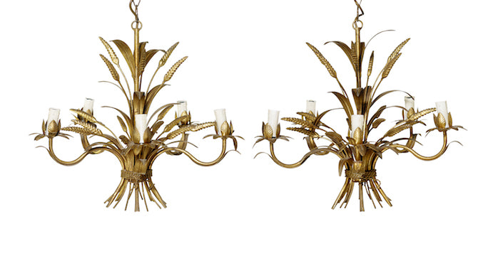 A stylish pair of gilt metal five branch wheatsheaf design pendant lights, French Circa 1950