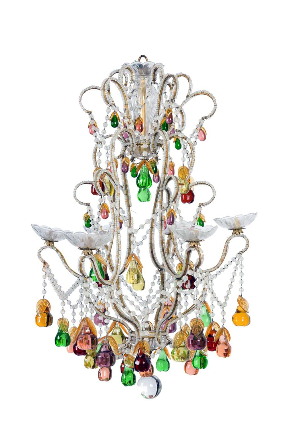 A beautiful multi -coloured pear drop chandelier, French Circa 1950