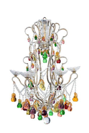SOLD A beautiful multi -coloured pear drop chandelier, French Circa 1950