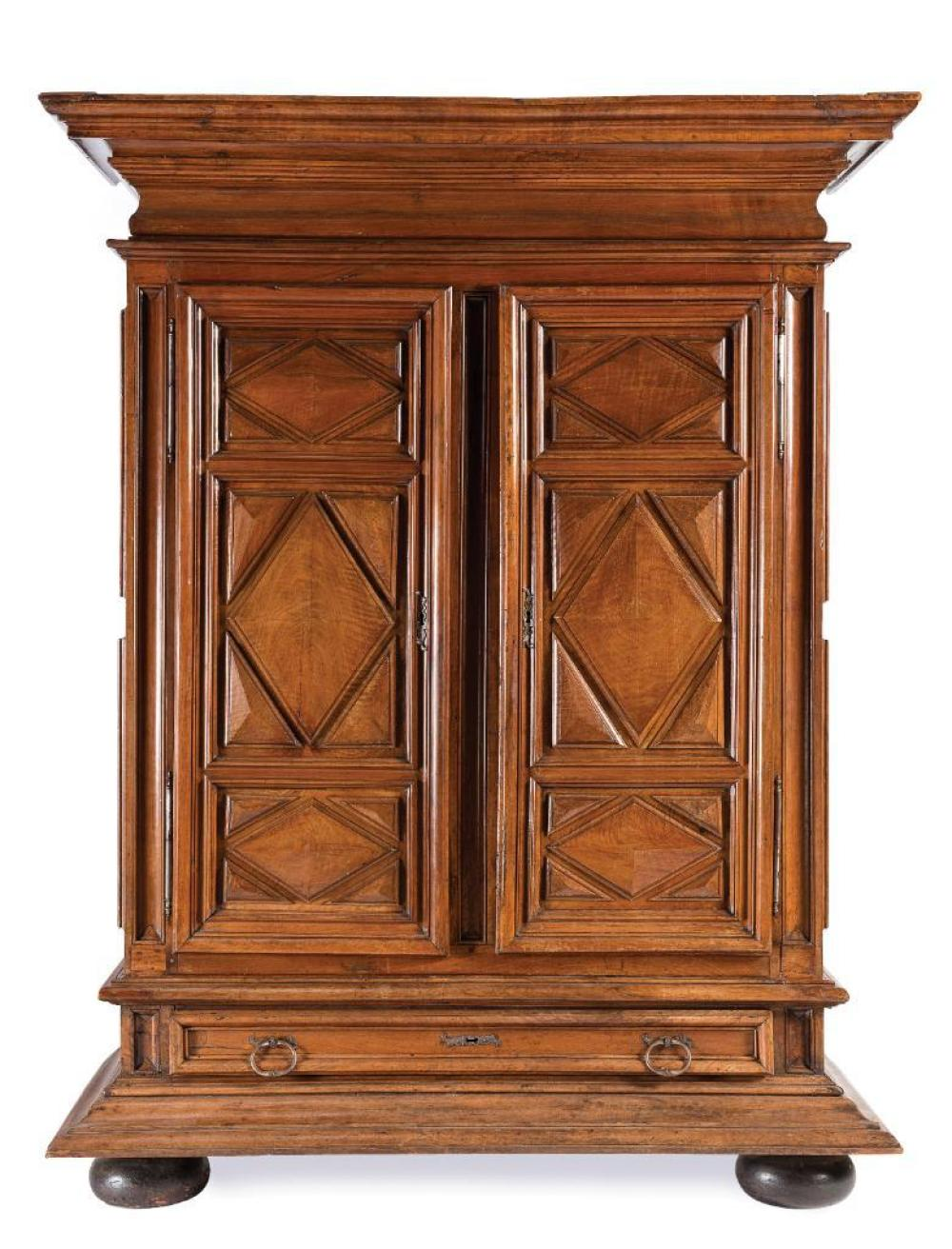 An important Louis XIV walnut armoire, French Circa 1700