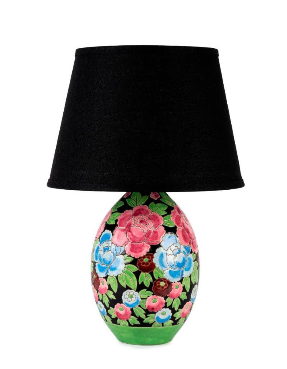 A very pretty faience floral ovoid vase lamp by Keramis, Belgian Circa 1930