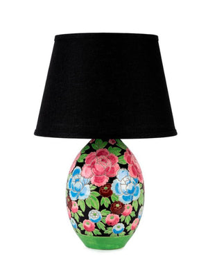 A very pretty faience floral ovoid vase lamp by Keramis, Belgium circa 1930