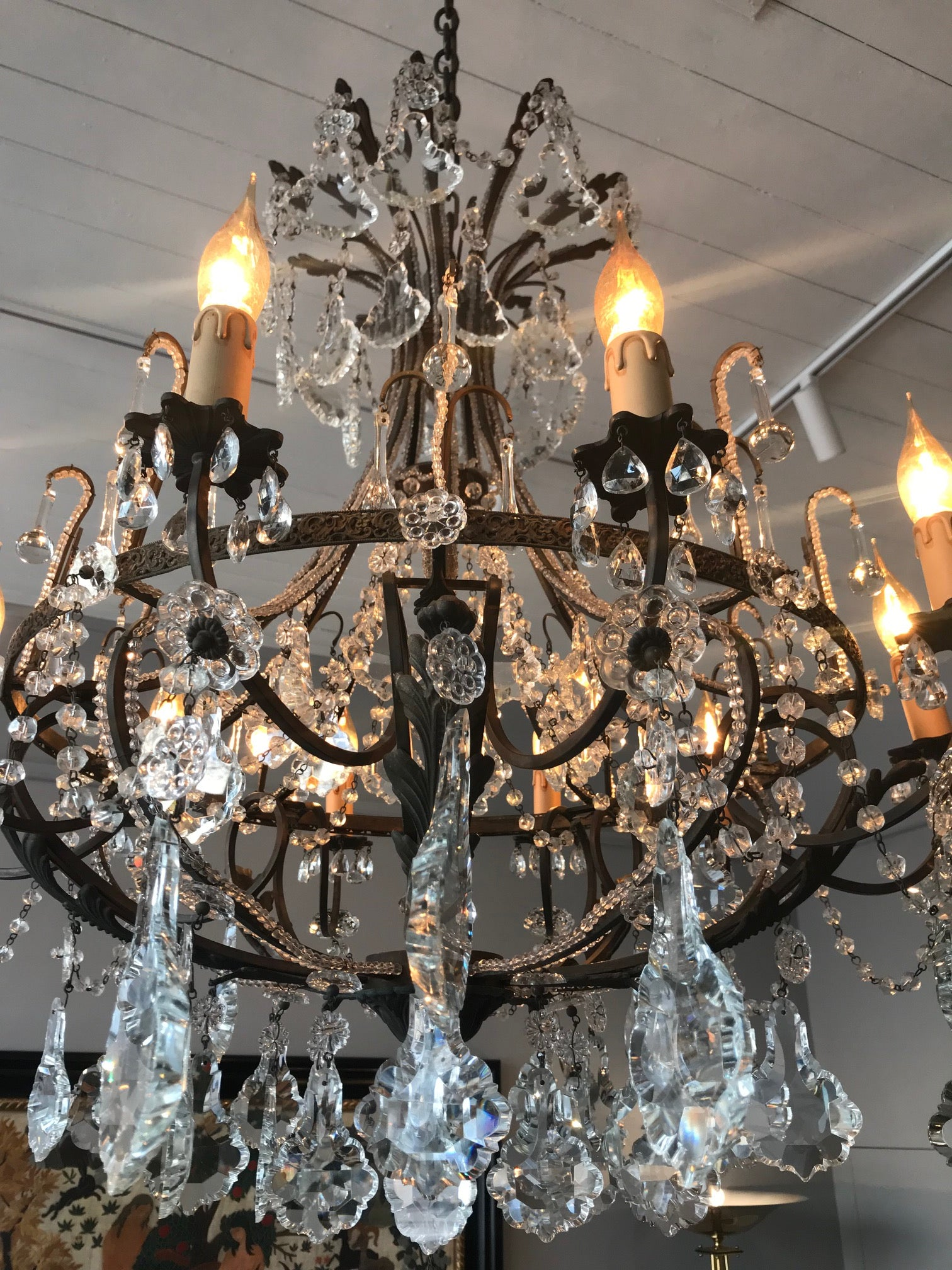 A fabulous bronze and clear crystal facet cut ten-branch Chandelier, French Circa 1900