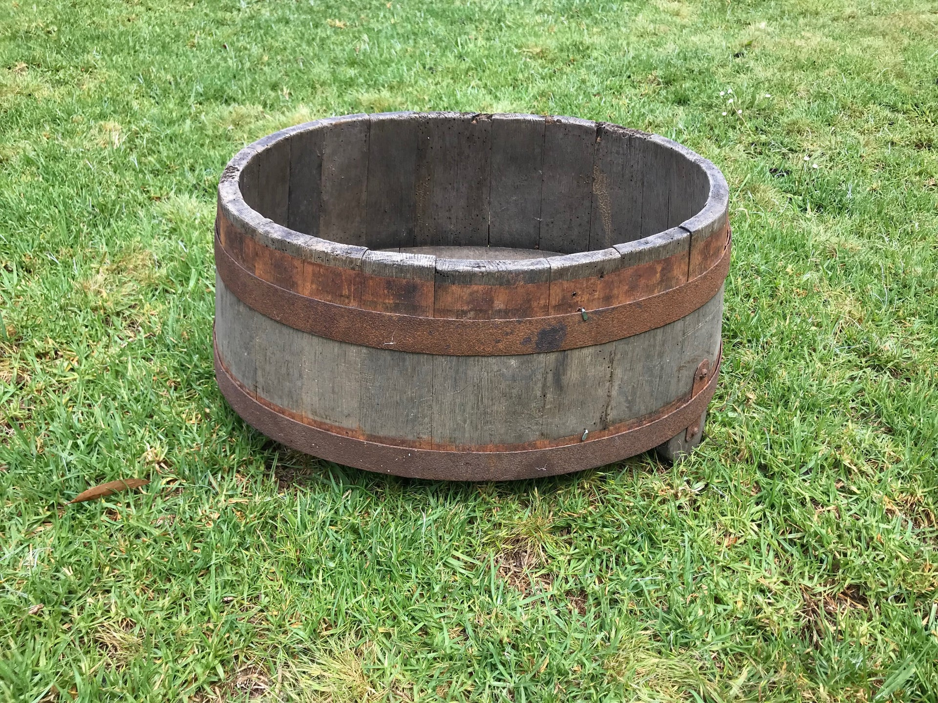 SOLD An oval coopered oak and metal banded harvesting vessel, French 19th Century