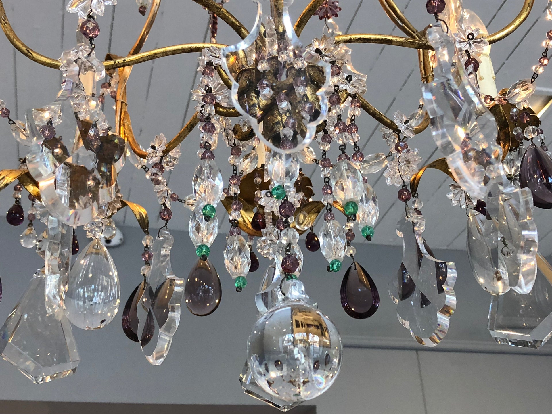 An exceptional amethyst and clear crystal gilt metal chandelier, Italian Circa 1950