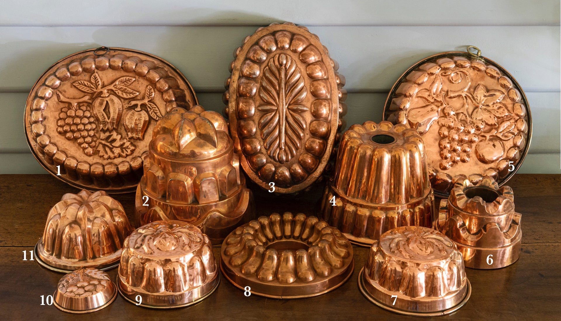 A collection of  copper jelly, gateau and terrine moulds, French 19th Century