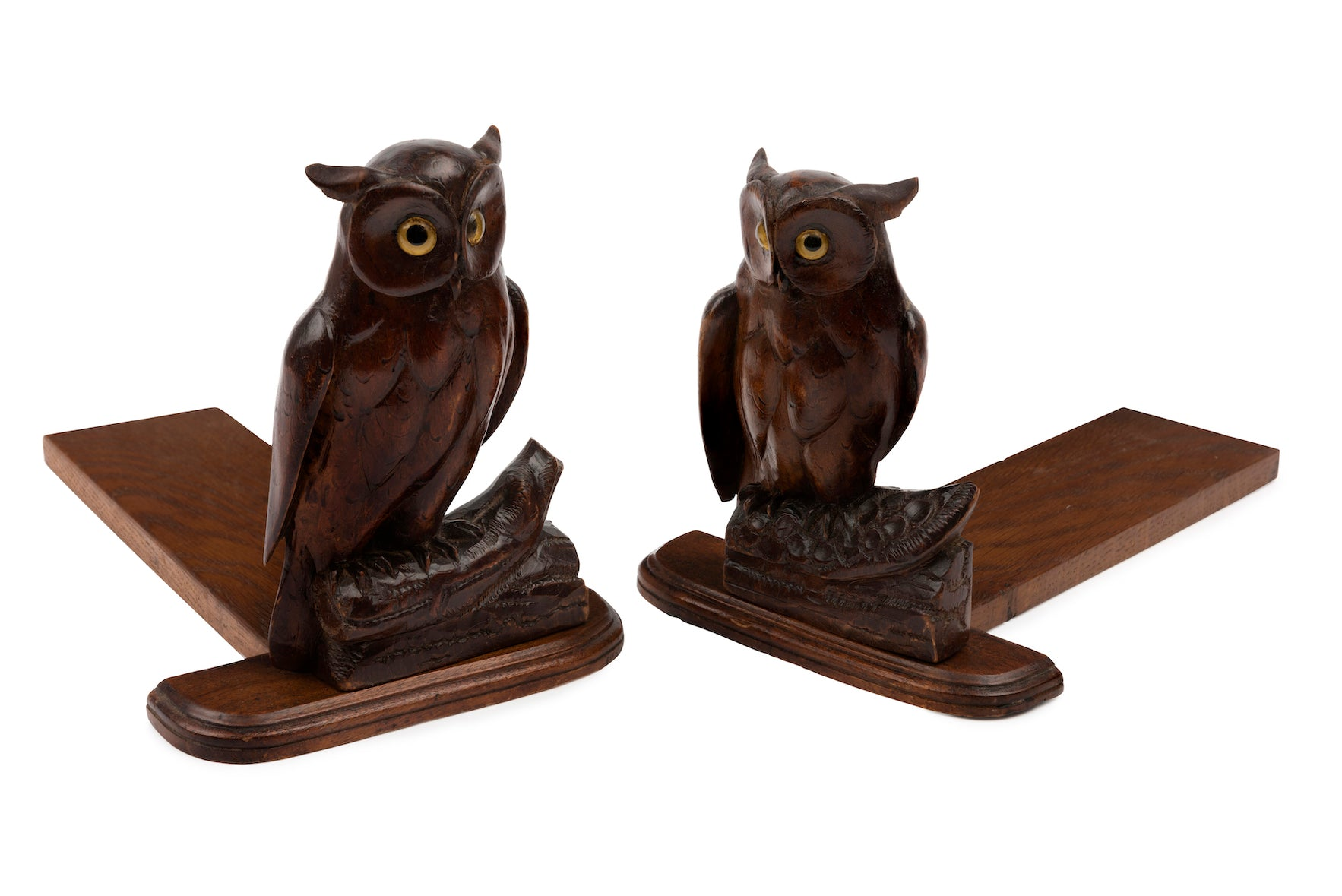 SOLD A pair of charming carved wooden owl bookends, French Circa 1900
