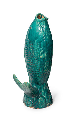 A highly decorative giant turquoise glazed eathernware leaping carp Japanese, Circa 1900