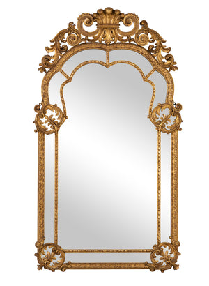 A very fine quality and unusual giltwood wall mirror, Italian 19th Century