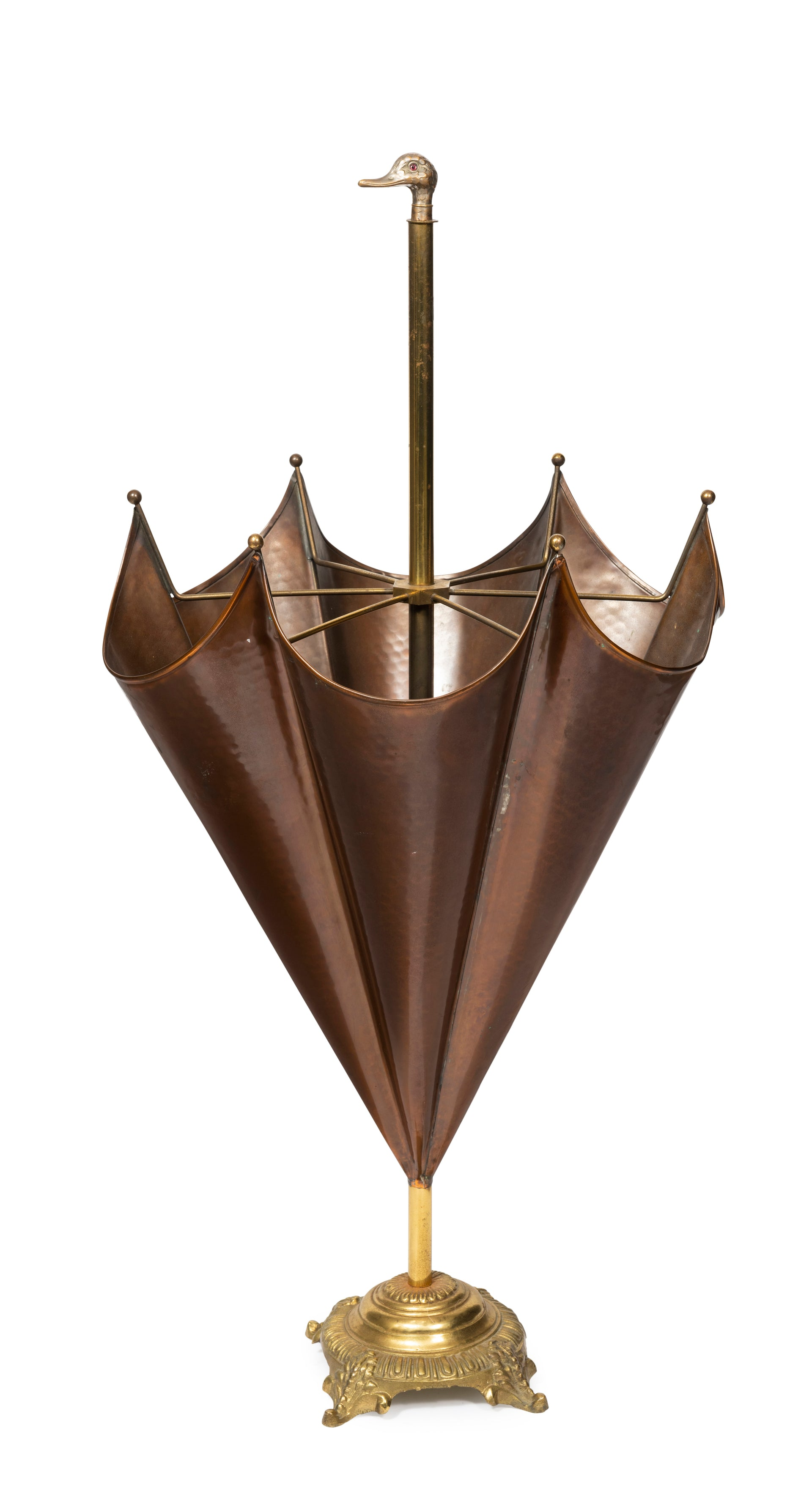 SOLD A stylish copper and brass parasol form umbrella stand, French Circa 1900