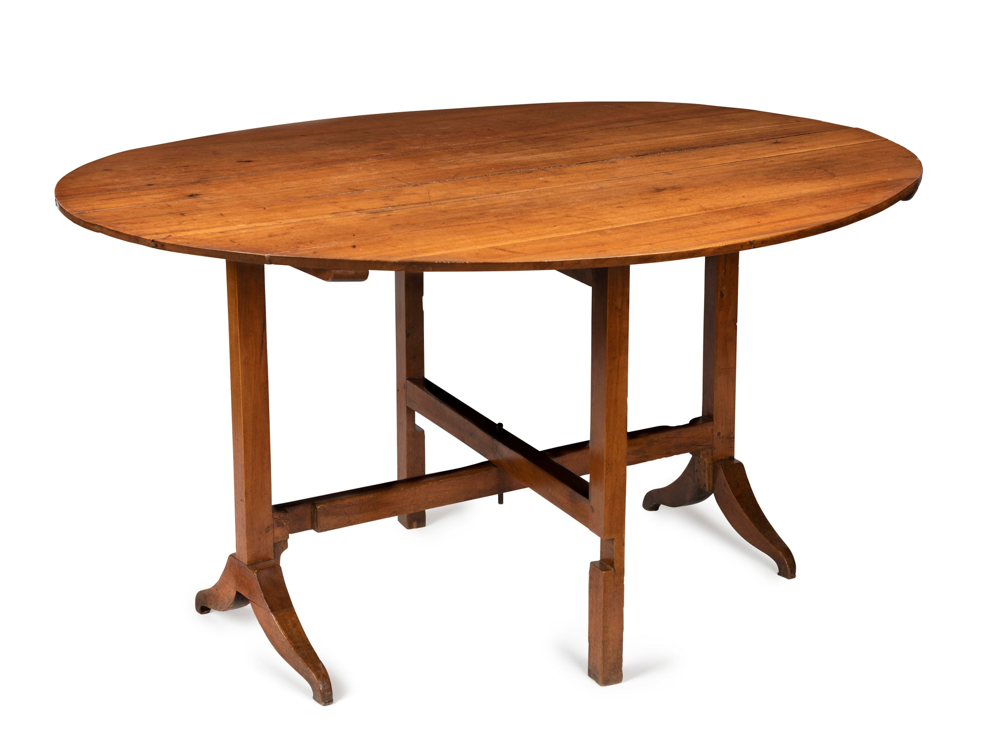 A Provincial oval fruitwood Vignerons table, French late 18th, early 19th Century