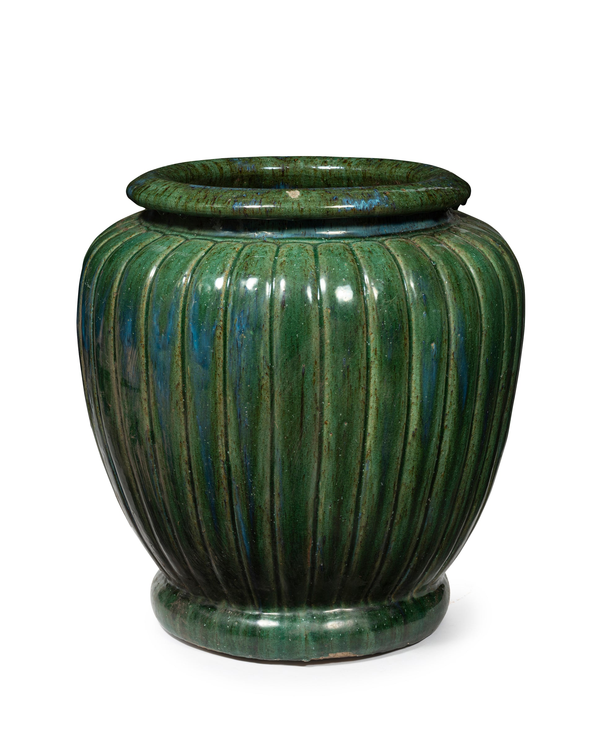 A large green glazed ribbed design urn, Japanese