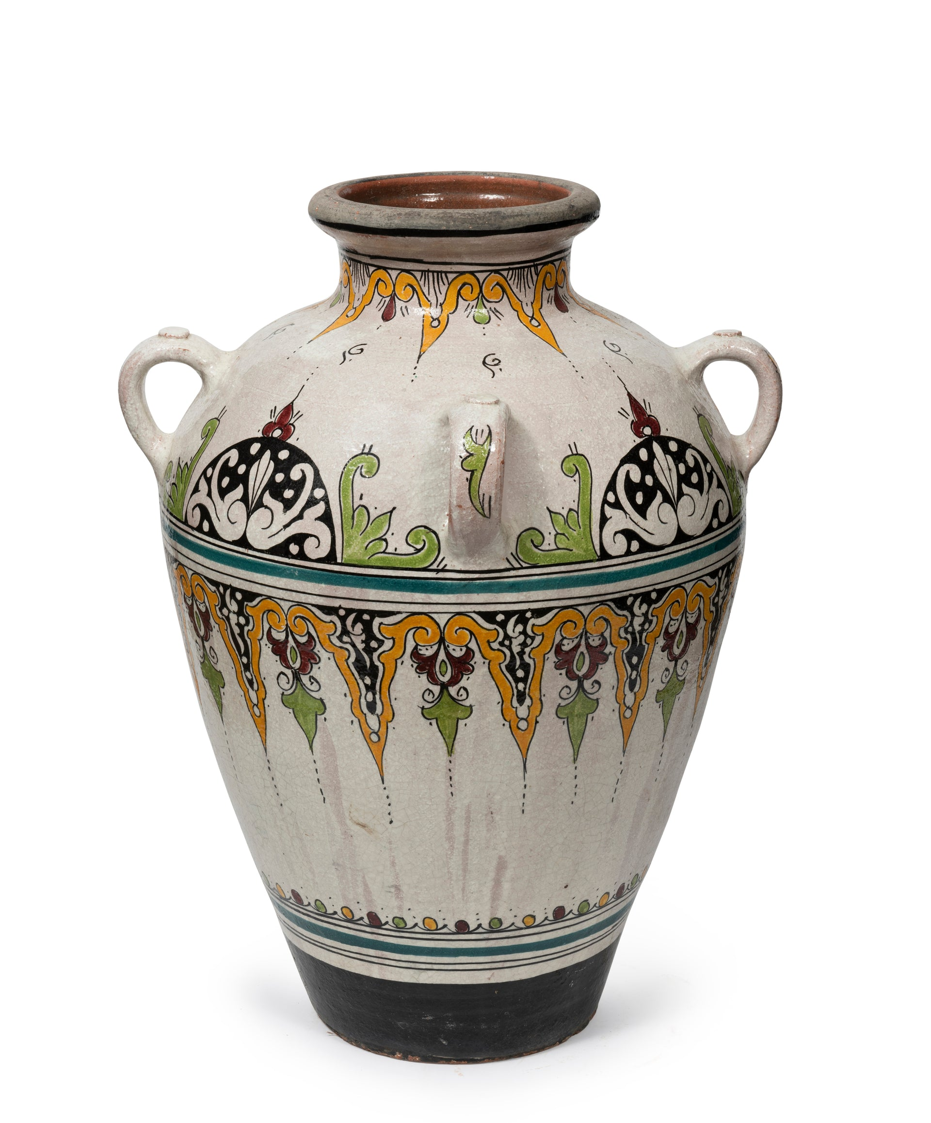 SOLD A Moroccan glazed and beautifully painted terracotta amphora