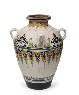 A Moroccan glazed and beautifully painted terracotta amphora