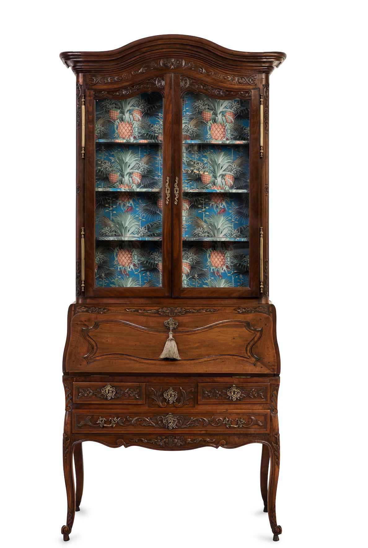 A finely carved walnut Louis XV style bureau-cabinet, French, 19th Century