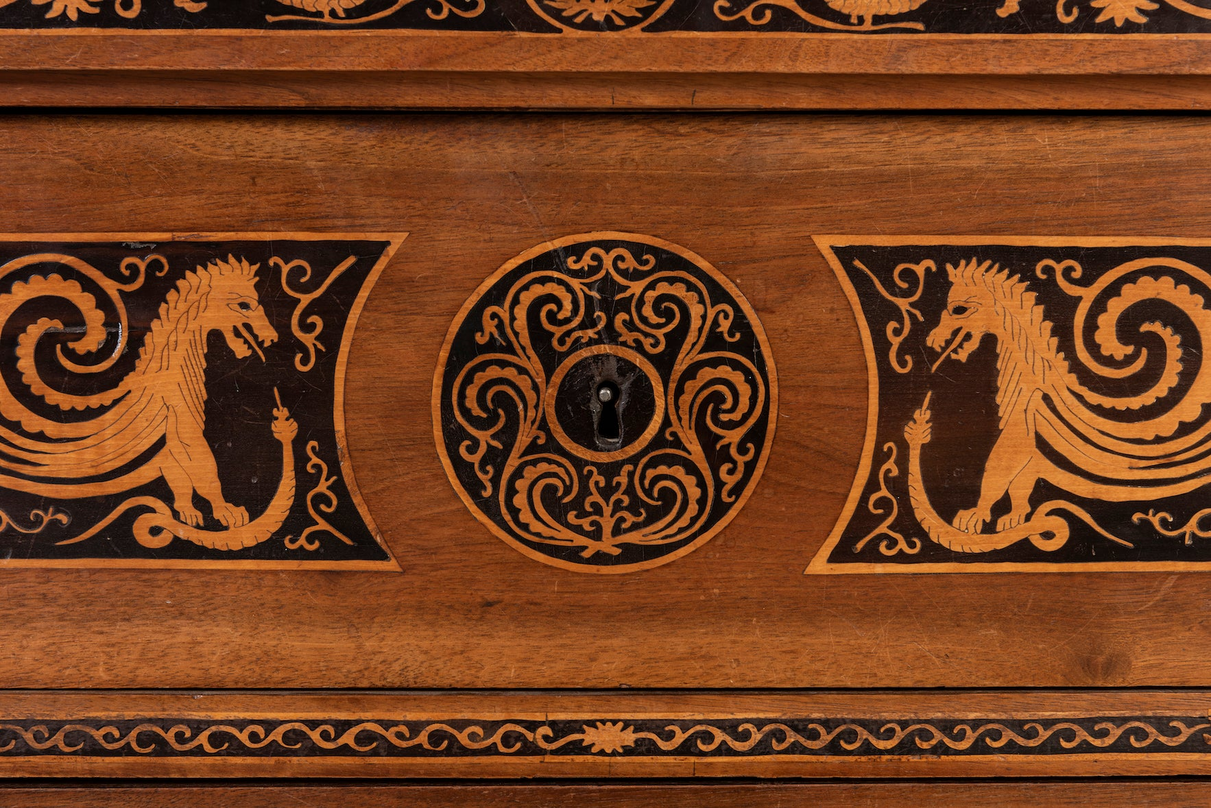 A very fine marquetry walnut straight-front commode, Italian, Circa 1845