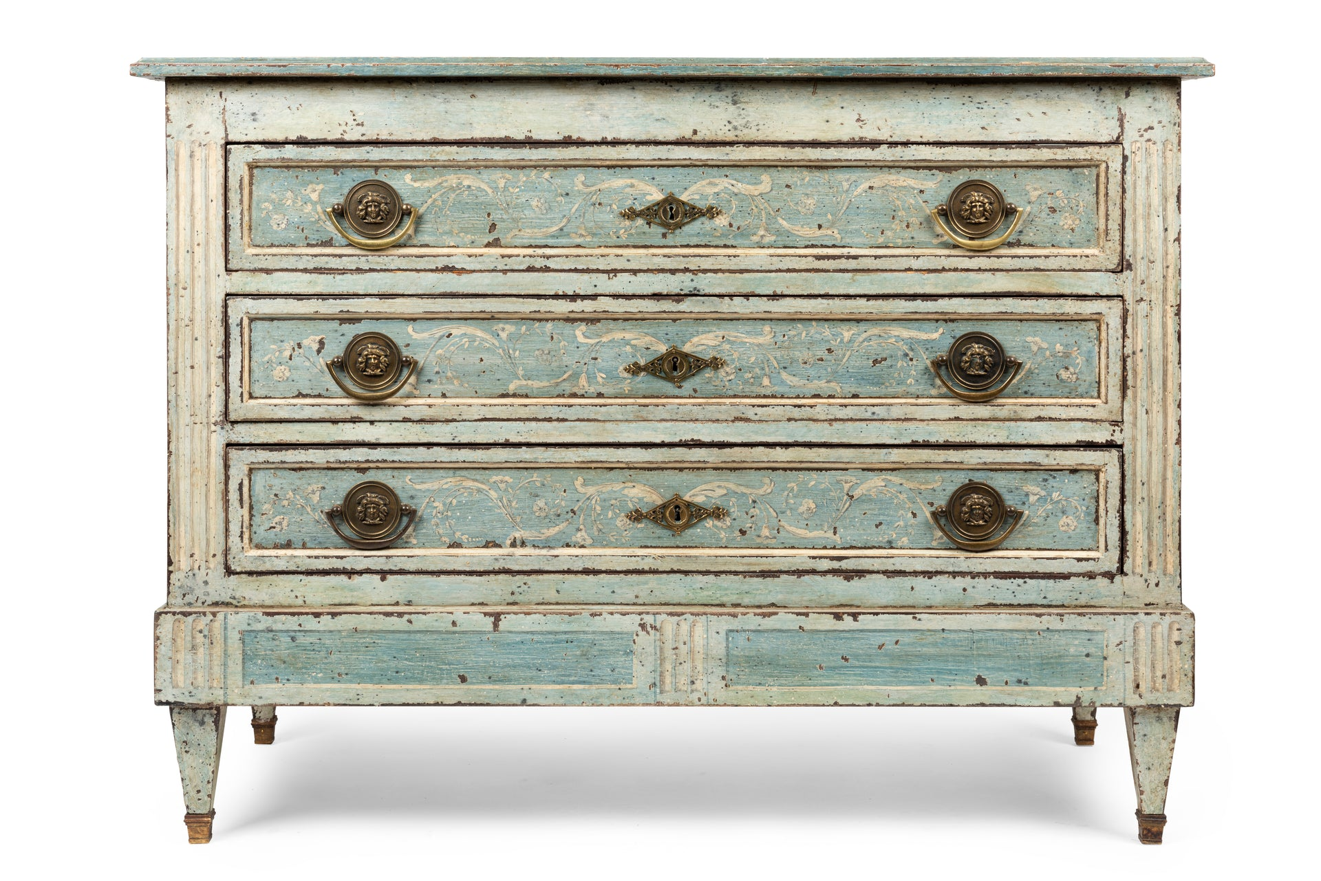 SOLD A very decorative Italian pale blue, white and grey painted three drawer commode