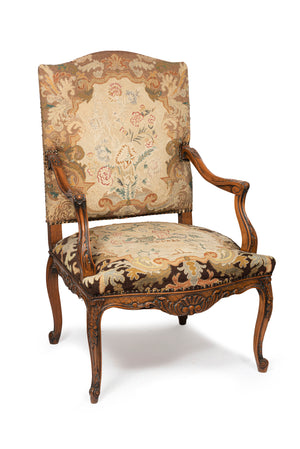 A Louis XV style carved walnut fauteuil, French 19th Century