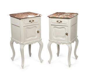A pair of Paris Grey painted carved oak bedside cabinets, French 19th Century