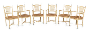 A set of six unusual painted timber Wheatsheaf design chairs, French Circa 1900