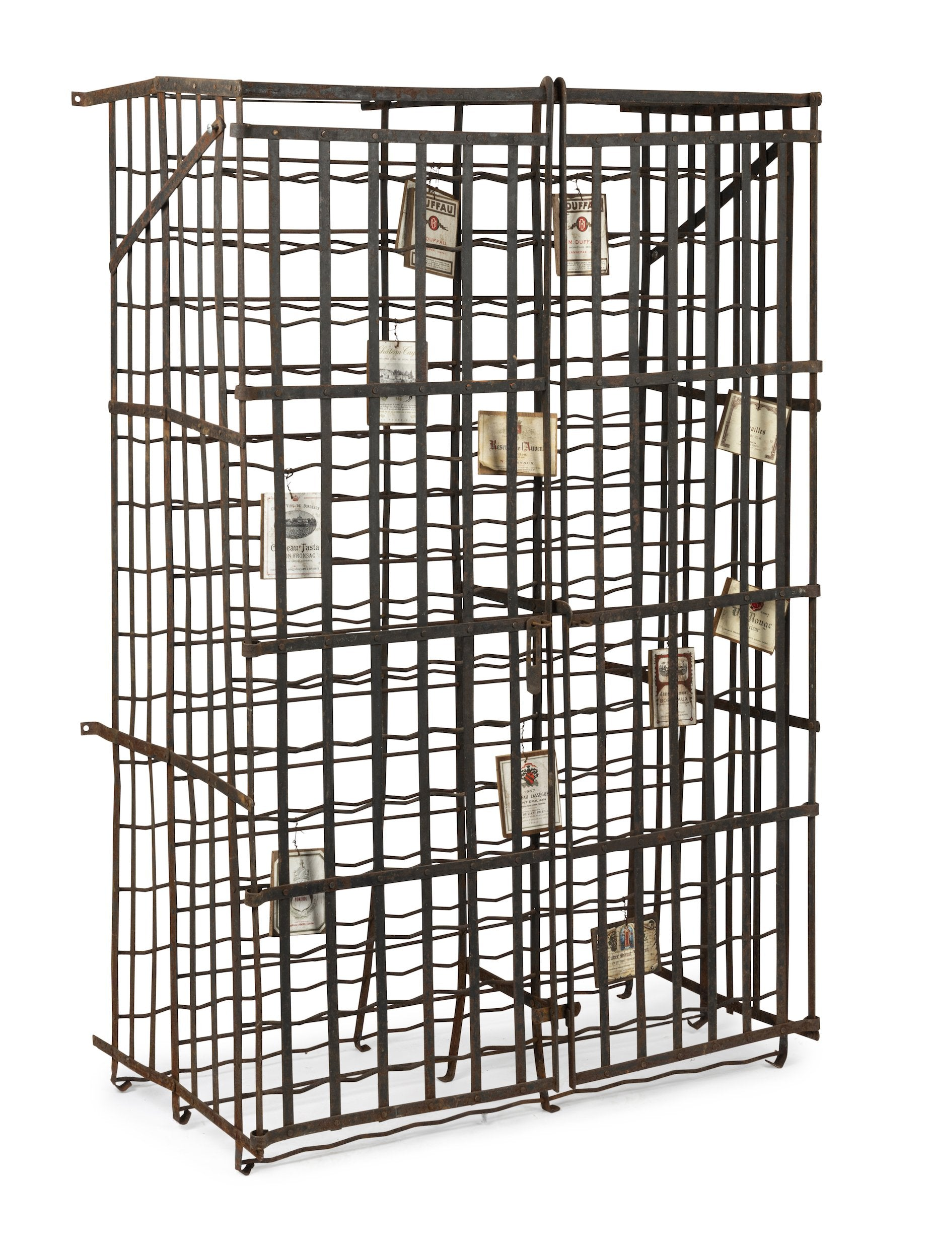 SOLD A large wrought iron two door lockable wine cage, French 19th Century